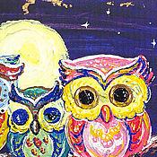 Картины и панно ручной работы. Ярмарка Мастеров - ручная работа Совята, декоративное деревянное панно. Handmade.