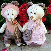 Мягкие игрушки ручной работы. Ярмарка Мастеров - ручная работа Тедди мишки парочка цвета пыльной розы. Handmade.