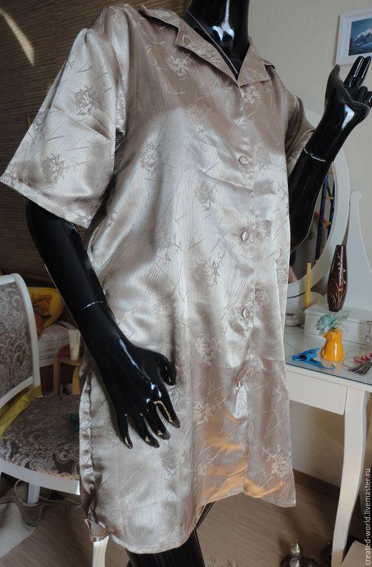 Одежда. Ярмарка Мастеров - ручная работа. Купить Халат атласный . Германия. 46-48. Handmade. Бежевый, для сна