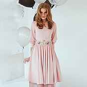 Платье с вышивкой look 627 (розовый)