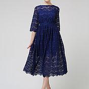 Платья ручной работы. Ярмарка Мастеров - ручная работа Платье синего цвета из кружева. Handmade.