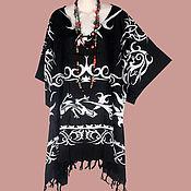 Одежда ручной работы. Ярмарка Мастеров - ручная работа Кельтский узор черный туника платье, батик, свободный летний оверсайз. Handmade.