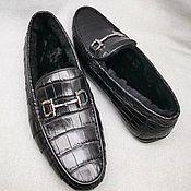 Обувь ручной работы handmade. Livemaster - original item Men`s moccasins, with fur from the abdominal part of the crocodile skin.. Handmade.