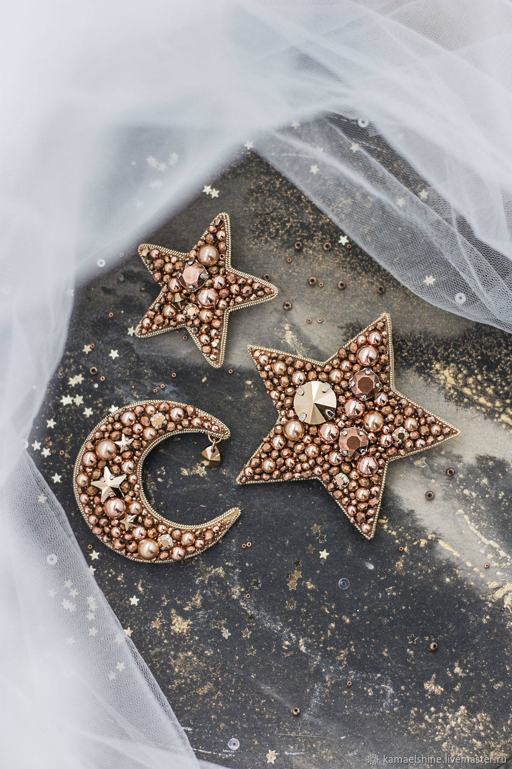 Embroidered star and moon brooches with Swarovski crystals. Brooch Crescent, Brooches, Novorossiysk,  Фото №1