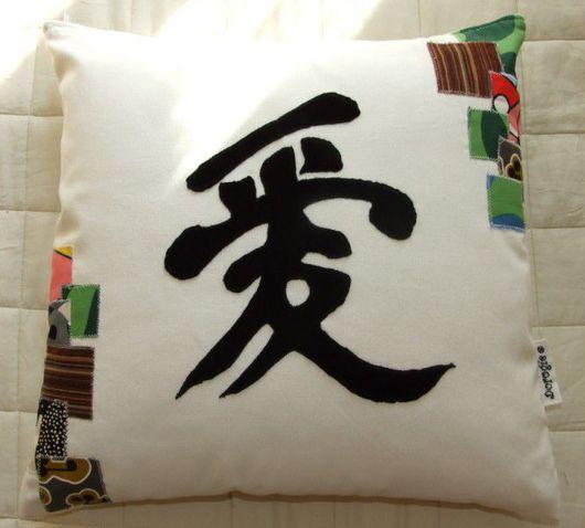 """Текстиль, ковры ручной работы. Ярмарка Мастеров - ручная работа. Купить Подушка """"Любовь по-японски"""". Handmade. Комбинированный, велюр, полиэстер"""