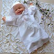 Работы для детей, handmade. Livemaster - original item Baptismal shirt with a hood