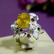 Украшения handmade. Livemaster - original item Ring Sapphire yellow, silver ring. ( Art02). Handmade.