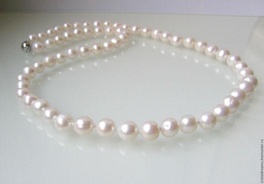 Колье, бусы ручной работы. Ярмарка Мастеров - ручная работа. Купить Чудесное ожерелье из белого жемчуга Классика-луна. Handmade.