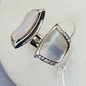 Украшения handmade. Livemaster - original item Silver ring with mother of pearl and cubic zirconia. Handmade.