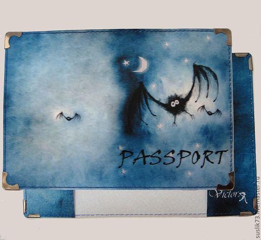 """Персональные подарки ручной работы. Ярмарка Мастеров - ручная работа. Купить обложка для паспорта """"Бэтмен"""". Handmade. Подарок, обложка на паспорт"""