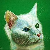 Картины и панно ручной работы. Ярмарка Мастеров - ручная работа Белый котик. Handmade.