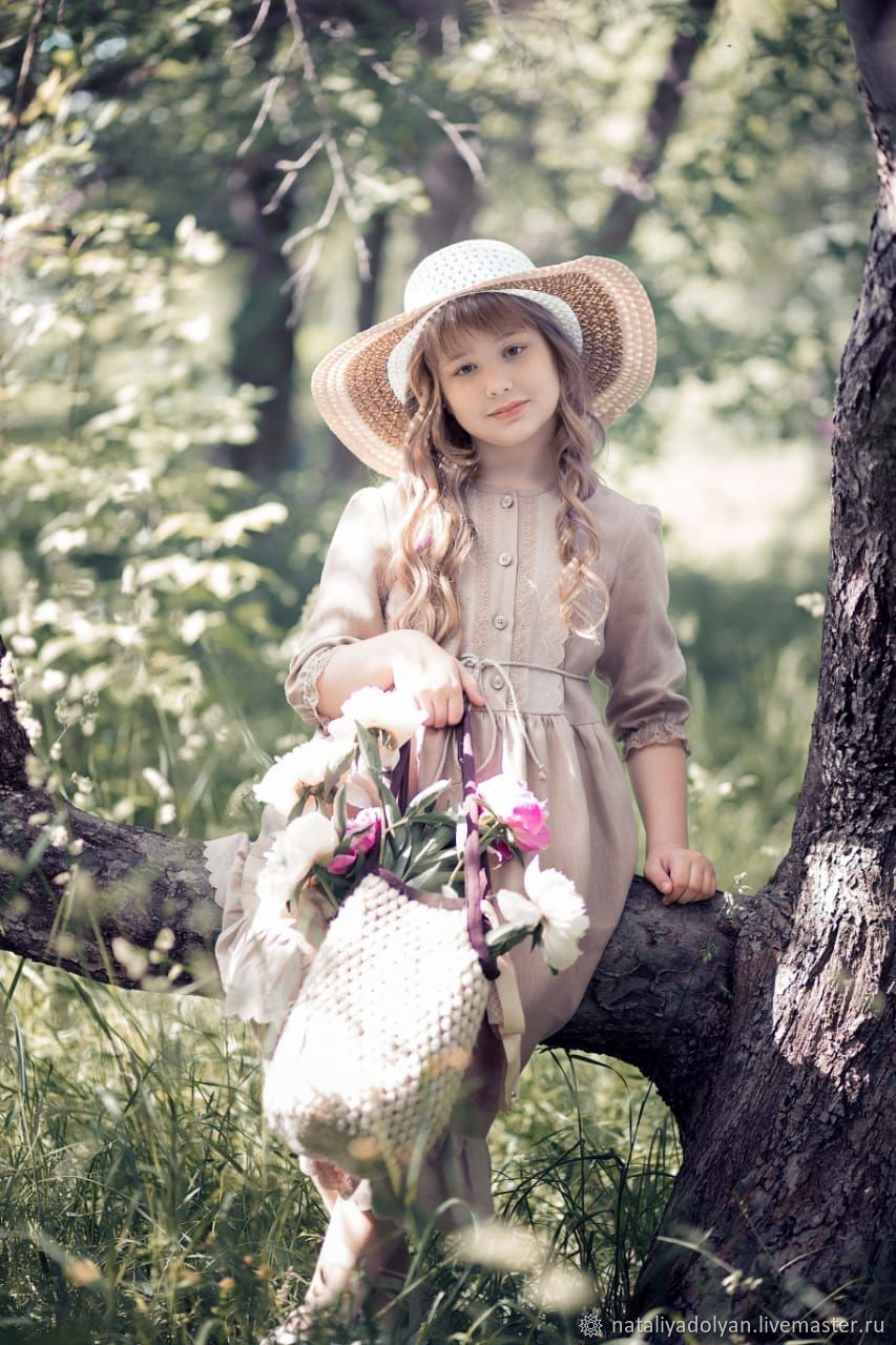 Linen dress for girl 'Coffee with milk' the Growth of 122 cm, Childrens Dress, Ivanovo,  Фото №1