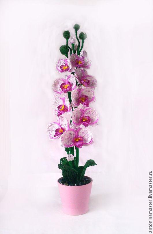 """Цветы ручной работы. Ярмарка Мастеров - ручная работа. Купить Цветы из бисера орхидея """"Лазурная"""". Handmade. Розовый, бисерные деревья"""