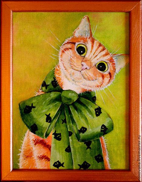 """Животные ручной работы. Ярмарка Мастеров - ручная работа. Купить картинка """"Кот Солнечный"""". Handmade. Оранжевый, забавный, кот с бантиком"""