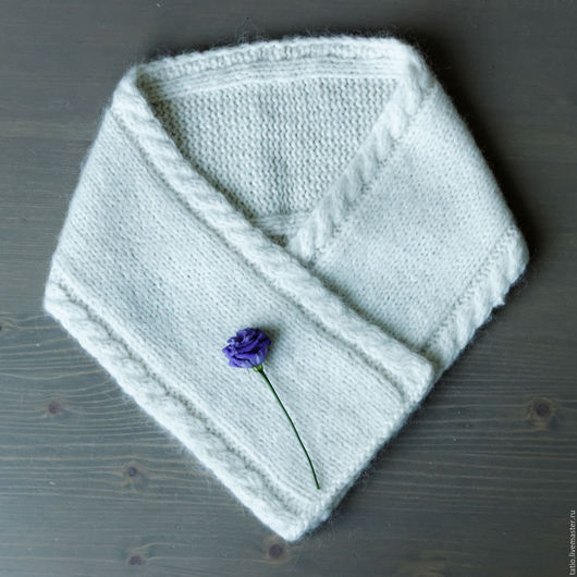 Шарфы и шарфики ручной работы. Ярмарка Мастеров - ручная работа. Купить Белый теплый шерстяной шарф. Handmade. Белый, полиамид