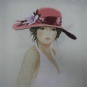 """Картины и панно ручной работы. Ярмарка Мастеров - ручная работа картина """"дама в шляпке"""". Handmade."""