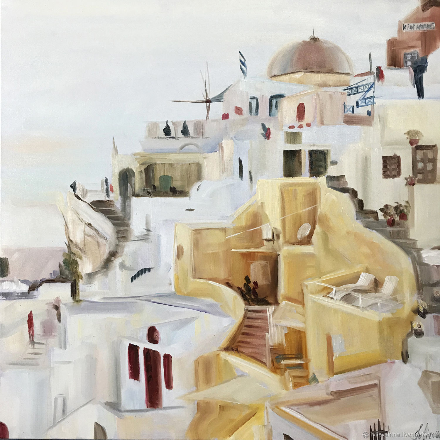 Oil painting Santorini 40h40 cm, Pictures, Moscow,  Фото №1