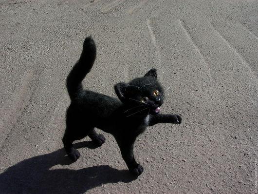 Игрушки животные, ручной работы. Ярмарка Мастеров - ручная работа. Купить Черный котенок  Черныш. Handmade. Черный, валяние из шерсти