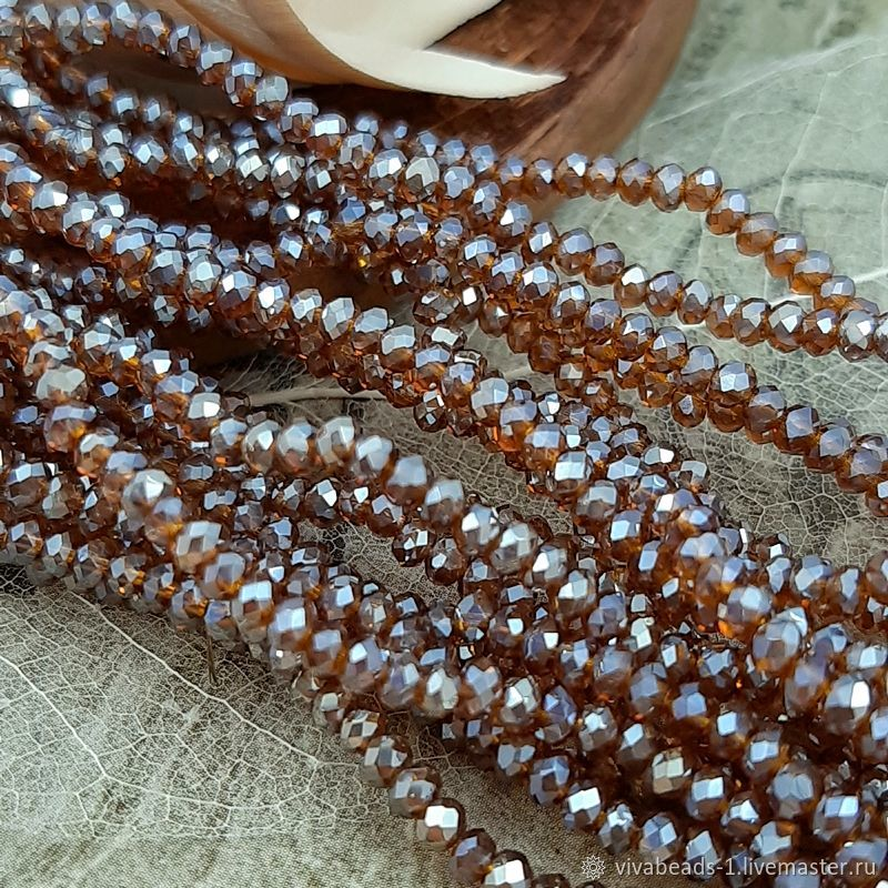 50 PCs. Rondel faceted 3x2 mm brown galvanized (3721), Beads1, Voronezh,  Фото №1