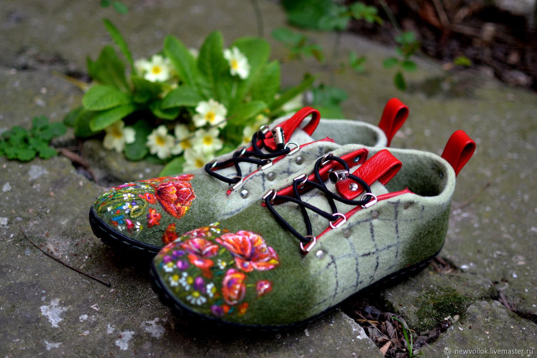 "Валяные ботинки ""Маки"", Ботинки, Феодосия,  Фото №1"