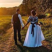 """Одежда ручной работы. Ярмарка Мастеров - ручная работа Свадебное платье """"Гжель"""" в стиле А-ля Русс, Невеста в Русском стиле. Handmade."""