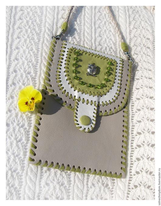 """Для телефонов ручной работы. Ярмарка Мастеров - ручная работа. Купить Сумочка-кармашек """"Летняя"""", сумочка из натуральной кожи. Handmade."""