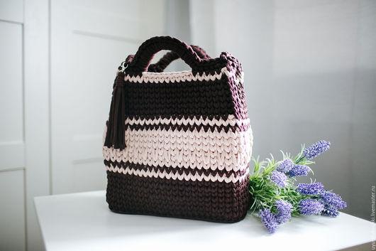 """Женские сумки ручной работы. Ярмарка Мастеров - ручная работа. Купить """"Шоколадная"""" сумка. Handmade. Коричневый, трикотаж, 100% хлопок"""