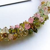 Украшения handmade. Livemaster - original item Silver necklace PINK PASTEL Rose quartz gold Plated silver. Handmade.