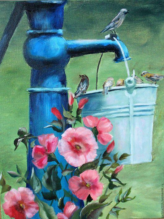 Пейзаж ручной работы. Ярмарка Мастеров - ручная работа. Купить Водопой. Handmade. Комбинированный, картина для интерьера, картина на холсте