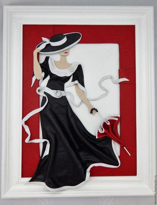 Люди, ручной работы. Ярмарка Мастеров - ручная работа. Купить Картина из кожи Дама с зонтиком. Объемная картина из кожи.. Handmade.