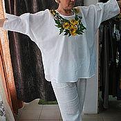 """Одежда ручной работы. Ярмарка Мастеров - ручная работа Туника, блуза  из льна """"Маки  желтые на сетке"""". Handmade."""