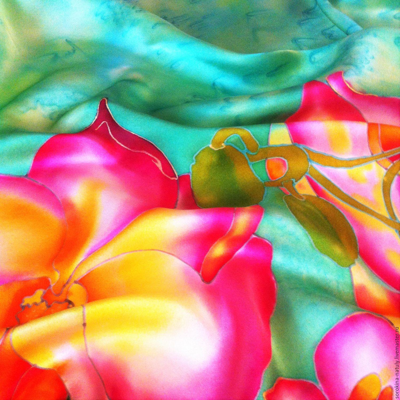 Батик платок `Королева орхидея` 100% натуральный шёлк атлас. Ручная работа.Ярмарка мастеров. Шёлковый рай. Шёлковый платок батик.Купить шёлковый платок батик `Королева орхидея`.Handmade. Батик.
