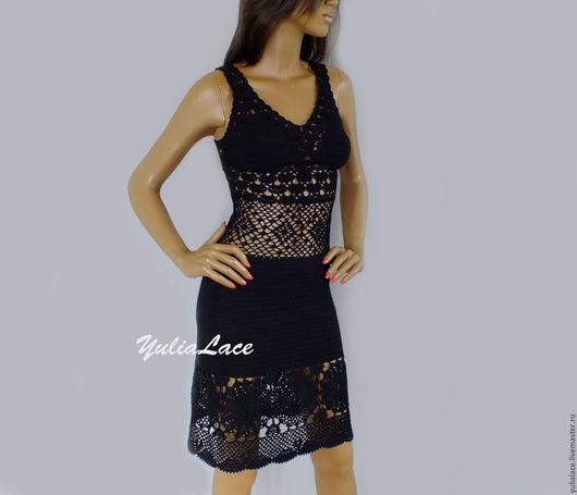 Платья ручной работы. Ярмарка Мастеров - ручная работа. Купить Вязаное платье. Handmade. Черный, платье крючком, ажурное платье