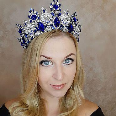 Украшения ручной работы. Ярмарка Мастеров - ручная работа Корона для конкурса красоты - Miss Sapphire. Handmade.