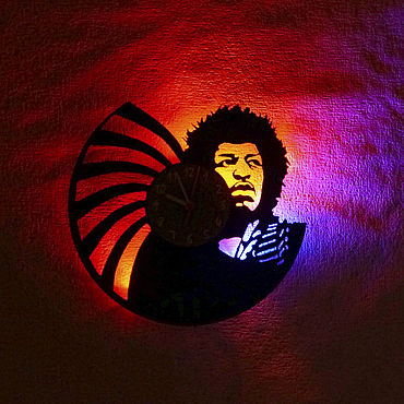For home and interior handmade. Livemaster - original item Wall clock with LED light from Jimi Hendrix. Handmade.