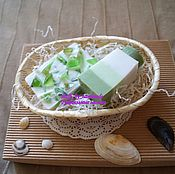 Косметика ручной работы handmade. Livemaster - original item A set of Soaps in a basket in shades of green. Handmade.