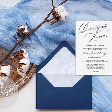 """Свадебный салон ручной работы. Ярмарка Мастеров - ручная работа Приглашение """"Каллиграфия"""" в синем. Handmade."""