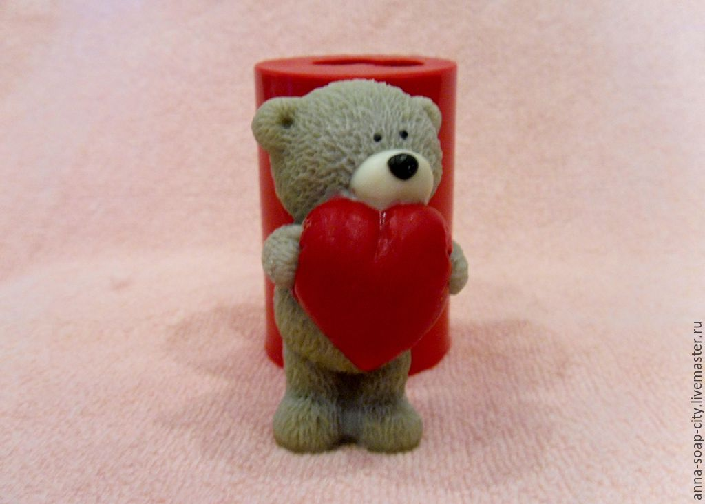 Silicone mold for soap and candles ' Bear with heart', Makeup tools, Arkhangelsk,  Фото №1