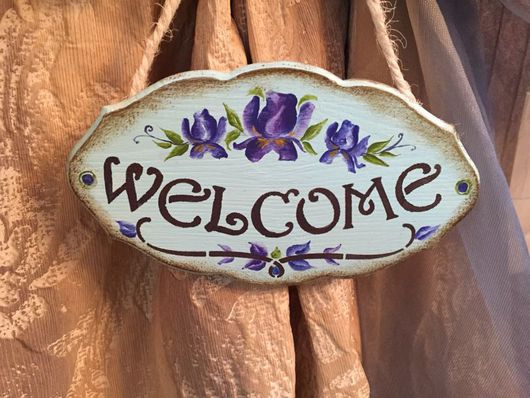 Прихожая ручной работы. Ярмарка Мастеров - ручная работа. Купить Табличка на дверь Ирисы. Handmade. Табличка на дверь, вывеска
