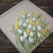 handmade. Livemaster - original item Panels: Mood-spring!! Linen panel-scroll Painting.. Handmade.