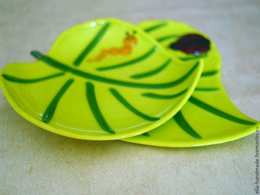 Тарелки ручной работы. Ярмарка Мастеров - ручная работа. Купить Набор тарелок фьюзинг Летнее настроение. Handmade. Ярко-зелёный