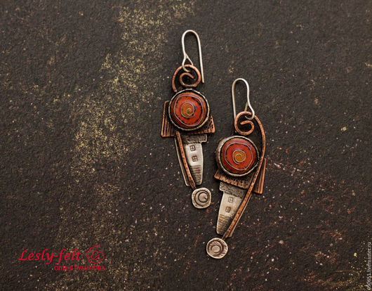 Серьги: серебро 925 пр., медь, горячая эмаль. Авторские серьги. Уникальное украшение. Полностью ручная работа.