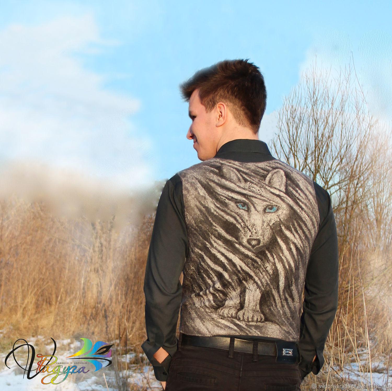 Studio rainbow Victoria, designer clothes, designer jacket, designer clothing felted, milled author vest, vest with painting, wool waistcoat, vest, unusual, men's vest, ekostil, wolf,