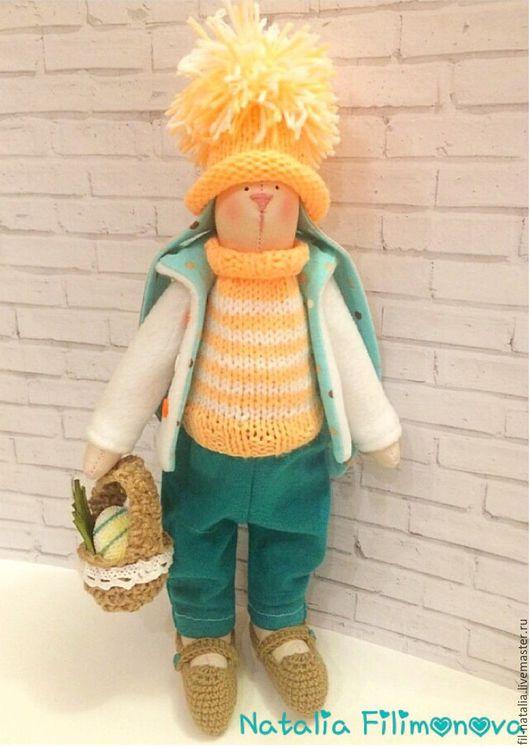 Куклы Тильды ручной работы. Ярмарка Мастеров - ручная работа. Купить Зайчик пасхальный. Handmade. Оранжевый, Пасха, хлопок