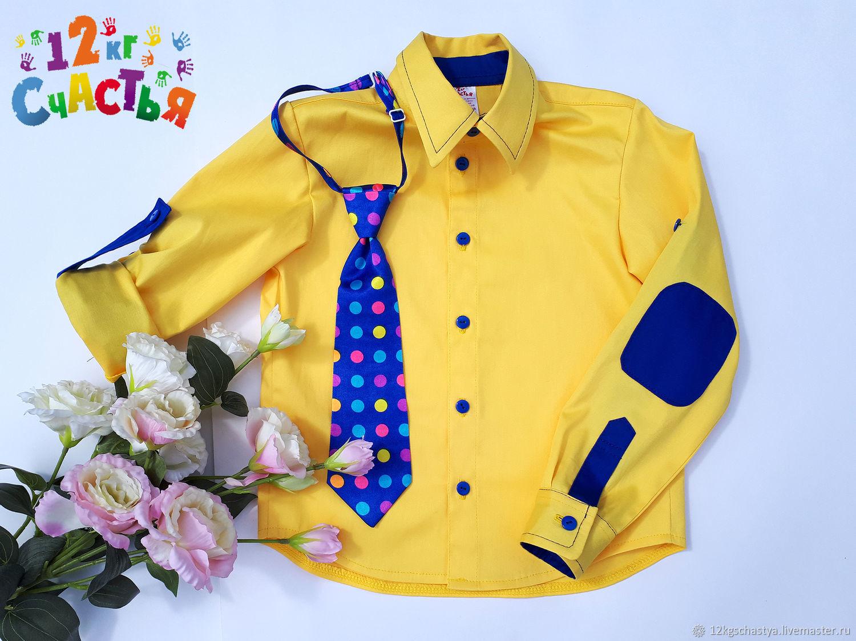 Одежда для мальчиков, ручной работы. Ярмарка Мастеров - ручная работа. Купить Рубашка для мальчика 'Стиляги' желтая с заплатками. Handmade. Галстук