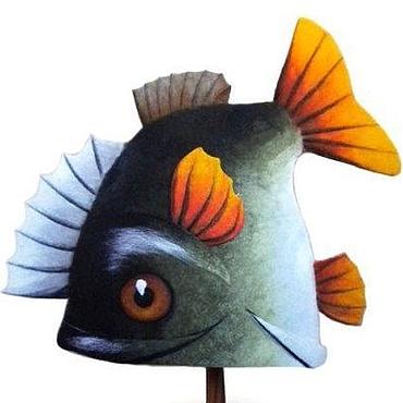 """Для дома и интерьера ручной работы. Ярмарка Мастеров - ручная работа Шапка для бани """"Большая рыба"""". Handmade."""