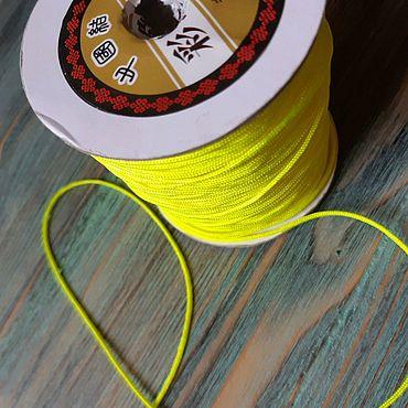 """Материалы для творчества ручной работы. Ярмарка Мастеров - ручная работа 1.5 мм Шнур нейлоновый """"шамбала"""" яркий зеленый неон. Handmade."""