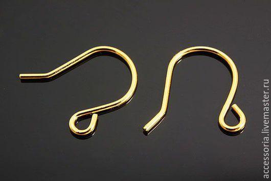 Швензы-крючки для серег, позолота, 15 мм, Южная Корея