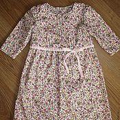 Работы для детей, ручной работы. Ярмарка Мастеров - ручная работа Розовое платье в цветочек с повязкой на голову. Handmade.