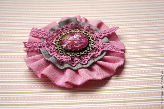 """Броши ручной работы. Ярмарка Мастеров - ручная работа. Купить Брошь """"Розовая мечта"""". Handmade. Розовый, брошь текстильная, для девушки"""